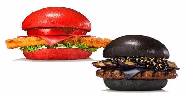 crveni i crni hamburger