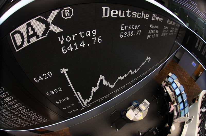 The DAX Index board is pictured during a trading session at Frankfurt's stock exchange