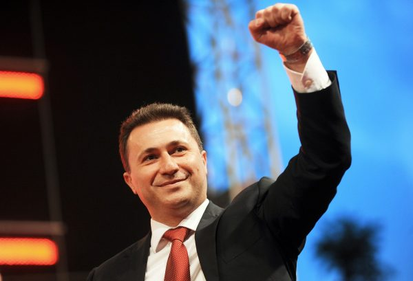 Macedonian Prime Minister Nikola Gruevski, leader of the ruling conservative VMRO-DPMNE party, greets supporters prior to his speech during an electoral rally in Skopje on May 29, 2011, ahead of June 5th early Parliamentary elections., Image: 94827171, License: Rights-managed, Restrictions: , Model Release: no, Credit line: Profimedia, AFP